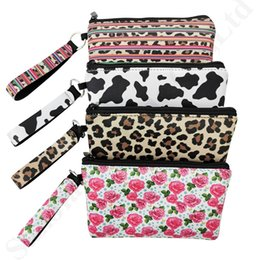 $enCountryForm.capitalKeyWord Australia - RTS Neoprene Lanyard Card Bag Women Wristlet Zipper Coin Purse Rose Leopard Print Waterproof Credit ID Card Slot Case Girl Hanging BagC82302