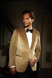 Beautiful Suits Australia - Popular Color Gold Velvet Fabric Bridegroom Wedding Beautiful Suits Men Formal Banquet Wear Two Pieces (Blazer+Pant) For Sale