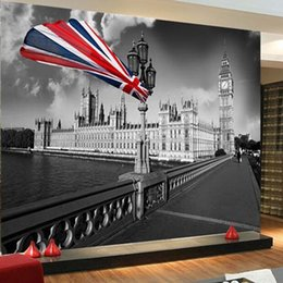 $enCountryForm.capitalKeyWord NZ - Vintage Wallpaper Black And White London City Building Photo Mural Living Room Cafe Kid's Room Personality Decor Wall Paper Roll