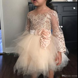 Cute Scoops Dress Australia - Cute Ivory Knee Length Flower Girls Dresses Scoop Neck Long Sleeve Toddler Girl Pageant Dress Appliqued With Ribbon Holy Communion Gowns