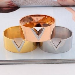 ladies bangle simple Australia - Europe America Simple Style Lady Women Titanium steel 18K Gold Engraved V Letter Wide Bangle Bracelets 3 Color