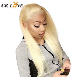 Silky Straight Blonde Wig Australia - OKLove Transparent Swiss Lace Human Hair Wigs #613 Blonde Color Wigs Brazilian Remy Hair Full Lace Wigs Silky Straight
