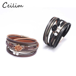 bracelets stones for women 2020 - Fashion Multilayer Leather Bracelet for Women Druzy Resin Stone Bead Wrap Cuff Bangle Magnetic Clasp Bracelet Handmade W
