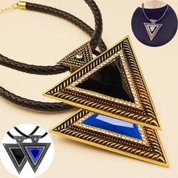 Necklaces Pendants Australia - LNRRABC New Black Choker Vintage Leather Pendant Women Rhinestones Triangle Necklace Sweater Chain Fashion Jewlery