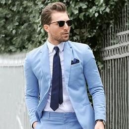 Men White Linen Casual Suits Australia - Summer Beach Blue Linen Groom Wedding Tuxedos Men Suits Blazer 2piece Coat Pants Custom Made Grooommen Jacket Trousers Casual Prom Party