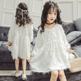 bc49256a595 2019 spring white long sleeve princess dresses age 10 12 years old cute  kids clothes big girls dress