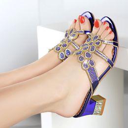 $enCountryForm.capitalKeyWord Australia - 2019 New Water drill cool slippers female Korean version fashion wearing open-toed heels thick heels inlaid Roman women's shoes