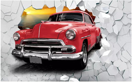 classic painted cars Canada - WDBH 3d wallpaper custom photo Retro red car breaking wall painting background home decor 3d wall murals wallpaper for walls 3 d living room