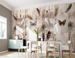 yarn painting UK - 3d Wallpaper Living Room Nordic Feathers Butterfly Retro Wood Plank TV Background Wall Painting Wallpaper