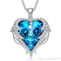love hearts angels wings Canada - Crystal Love Pendant Necklace for women Angel Wings Blue Heart Necklace copper Mothers Day Gift fine jewelry silver plated