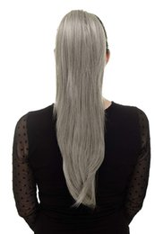 custom blonde hair Canada - Custom Naturally frizzy straight grey weave ponytail hair extension,Clip in platinum blonde grey fashion women indian hair ponytail hairpiec