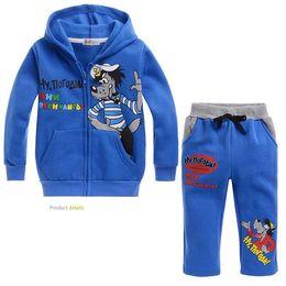 $enCountryForm.capitalKeyWord Canada - Autumn cartoon kids hoodie and pants set plus velvet blue wolf soft clothes set for 2-8yrs children boys girls outerwear set hot