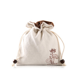 Tea Jewelry Australia - Thicken Linen Velvet Pouches for Jewelry Travel Pouch Trinket Drawstring Gift Packaging Bags Cloth Tea Cup Storage Bag 2pcs lot