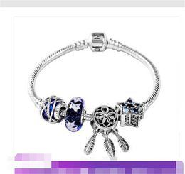 Echt s925 sterling silber charms armbänder klassische schlangenkette snap schnallen armband fit für pandora diy perle charme im Angebot