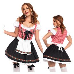 Bavarian costume women online shopping - New Women Traditional German Oktoberfest Costume Bavarian Beer Girl Costume Beer Maid Wench Dirndl Dress