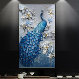 Vertical Paintings Australia - New 2019 custom 3D Wallpapers stereo painting aisle background wall vertical peacock orchid wallpaper corridor wallpaper wall covering