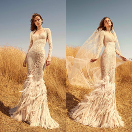 red lace zuhair murad mermaid Australia - 2020 Zuhair Murad Mermaid Wedding Dresses Sweetheart Lace Appliqued Beads Luxury Feather Long Sleeve Bridal Gowns Custom Made Wedding Dress