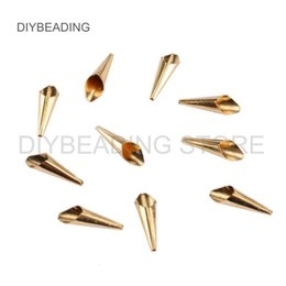 jewelry findings tassels UK - 20-100 Pcs Brass Tassel End Cap  Blank Cone Caps  Dangle or Bead End Caps  Small Size Trumpet Charm Finding for Jewelry (21mm)