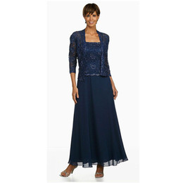 $enCountryForm.capitalKeyWord Australia - Navy Blue Beaded Mother of the Bride Dresses With Long Sleeves Jacket Square Neck Wedding Guest Dress Ankle Length Chiffon Formal Gowns