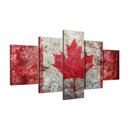 Chinese  Sports Maple Leaf Flag,5 Pieces Canvas Prints Wall Art Oil Painting Home Decor (Unframed Framed) manufacturers