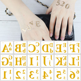 f1e7ad5ae Small Flash Metal Gold Temporary Tattoo Sticker Letter Figure DIY Design  Love 520 1314 Waterproof Body Makeup Tattoo for Woman Kids Arm Face