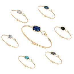 $enCountryForm.capitalKeyWord Australia - Hexagon Resin Druzy Drusy Bracelet Imitation Crystal Fuax Lava Stone Bracelet Bangle Gold Silver Color Brand Jewelry Women
