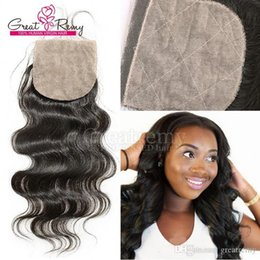 "human hair weave part silk closures UK - Silk Closure Top Closure Brazilian human Hairpieces Silkbase Closures Free Part Body Wave 8""-18"" Hair Pieces Natural Color Dyeable"