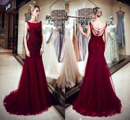 elegant wine 2019 - Fashion Elegant Dresses Round Neck Open Back Beading Mermaid Wine Red Tulle Long Party Formal Evening Dresses Women Prom