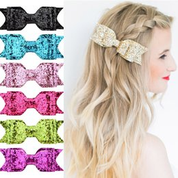 Baby Sequin Hair Clips Wholesale Australia - Baby Girl Sequins Bowknot Hair Clip Shiny Glitter Bows Barrettes Sequin Hairpin School Girls Hairlip Headwear Cute Hair Accessories 12 Color