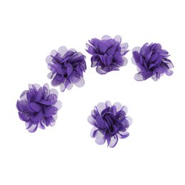 Discount chiffon flowers hair clips - 50pcs lot Newborn Headband Soft Chiffon Flowers For Hair Accessory Flat Back No Clip Girls Hairbands Ornament DIY Access