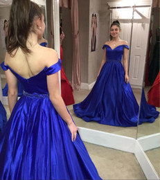 $enCountryForm.capitalKeyWord NZ - Fitted Royal Blue Off Shoulder Prom Dresses Plus Size A Line Silk Satin Long Evening Gowns Sexy Backless Holiday Special Occasion Dress 2019