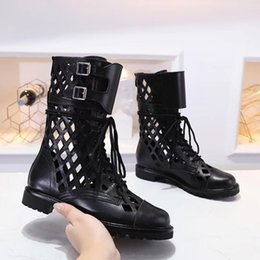 hollow boots women Canada - 2020 summer top designer leather boots fashion hollow real leather chain short boot buckle rope thick soled boots Martin barefoot women boot