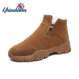 $enCountryForm.capitalKeyWord Australia - YEINSHAARS Winter New Warm Snow Boots Cow Suede Men's Casual Fashion Comfortable Round Head Zipper Men's Shoes with Fur