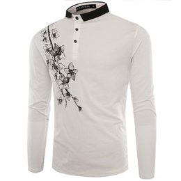 long sleeved polos UK - 2020 New Style Clothes Fashion Fold-down Collar Long-sleeved Shirt Sloping Shoulder Printed T-shirt Men's Men's Tees & Polos Men's Clothing
