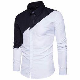 7ef404e2e0cf93 2019 Mens Cotton Black White Stitching Color Shirts Casual Slim Fit Fashion  Man Lapel Large Size Long-sleeved Shirts Male S-2xl