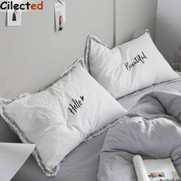 pair bedding Australia - Cilected 1 Pair Embroidery Pillowcase Bedding 100% Cotton Pillow Cover White Pink Hello Beautiful Letters For Couple Bedroom Y19062103