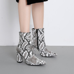 sexy woman snake print 2019 - Shoes Woman Snake Prints Ankle Boots High Heels Zip Leopard Boots Autumn Ladies Booties Pointed Toe Shoes Sexy Zapatos D