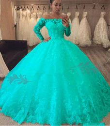 masquerade ball long gowns Australia - 2019 New Turquoise Ball Gown Quinceanera Dresses Long Sleeve Lace Flowers Off the Shoulder Floor Length Tulle Masquerade Prom Sweet 16 Dress