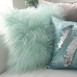 Green Patchwork Bedding Australia - Cute Nordic Plush Pillowcase wool Faux Fur Cushions ins sofa furry Long Hair Cushion Princess Pillow bed Sofa Decor