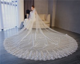 Long Romantic Veils UK - Cathedral Length Romantic Lace wedding veil Edge long Veil White Bridal Veils Luxury Applique High Quality Wedding Veils