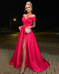 off shoulder high slit dress UK - High Leg Slit Sexy Formal Dresses for Women Sweetheart Off the Shoulder A-Line Satin Evening Dresses Gowns vestido festa longo