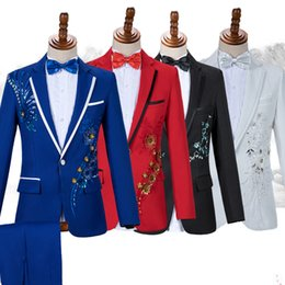 Clothing For Dancers Australia - Formal Jackets For Men Flower Embroidery Slim Coat Male Wedding Clothing Adult Bar Ds Nightclub Costume Singer Dancer Wear DT754