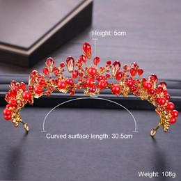 Big Bohemian Hair Australia - Gold Wedding Hair Jewelry Big Red Pearls Crystal Crowns And Tiaras Handmade Bridal Women Diadem Queen Wedding Hair Accessories