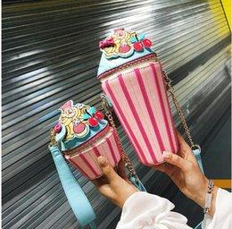 Plain Cupcakes Australia - Girly Wild Shoulder Bag Personality Ice Cream Cup Cartoon Women Messenger Bag Small Cupcake Shape Clutch Ladies Hand Bags