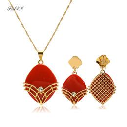 Women Costume Jewelry UK - wholesale African female costume Jewelry set for women Gold Necklace earrings set Catholic Religious Jewelry Set Christmas Gift