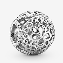 authentic flowers Australia - Fits Pandora Authentic Bracelet Charm Openwork Flower Sterling Silver 925 Pendant Charms Beads European Charms DIY Style Jewelry