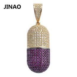 $enCountryForm.capitalKeyWord Australia - JINAO Hip Hop Fashion Jewelry Pill Necklace Can Open Capsules Pendant Cubic Zircon Copper Necklace Iced Out Detachable Unisex