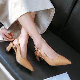 Block White Australia - YMECHIC Summer 2019 Fashion Daily Elegant Dress Party High Heels Slingbacks Shoes Woman White Pointed Toe Block Heel Pumps 35-42