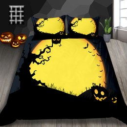 ChoColate duvet set king online shopping - Cartoon Print Bedding Set Halloween Queen Classic Print D Duvet Cover King Double Single Twin Western Festival Bed Cover with Pillowcase