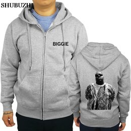biggie smalls sweatshirt UK - Men Personality Zipper Sweatshirt Male Hoody Tracksuit BIGGIE SMALL Hip Hop LIL Gangsta Rapper s OG TOP Mens
